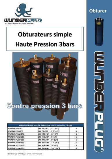 Obturateurs simple Haute Pression 3 bars